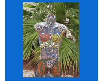 Future Warrior Man Mosaic Torso Sculpture Mannequin Look Great by you Pool MA101