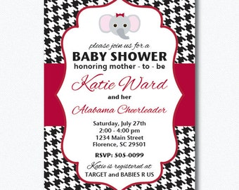 PRINTABLE Houndstooth University of Alabama Baby Shower Girl Invitation