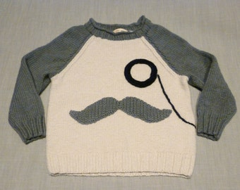 Handknit Monocle Mustache Sweater, 2 years