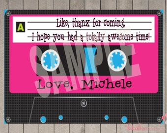 Personalized 80s Party Thank You Card Printable