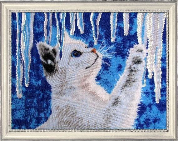 Cat And Icicles DIY beaded embroidery kit, beading on needlepoint kit, room wall decor housewarming gift idea