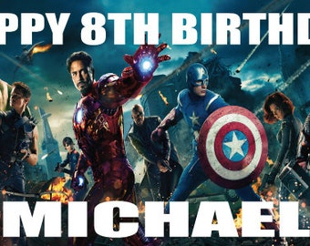 Personalized birthday banner - 4ft x 2ft - Avengers,Captain america, iron man, hulk, etc