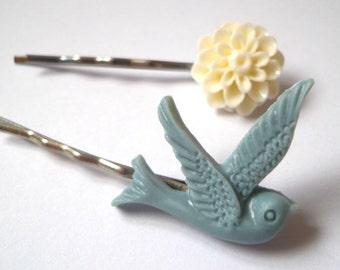 Swallow & Flower Hair Slides, Grip, Accessories, Dove, Bird, Bobby Pin, Summer
