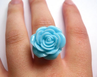 Pretty Carved Blue Resin Flower Ring, Floral, Kitsch, Cute, Summer, Fashion