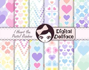Heart Digital Paper, Pastel Rainbow Background, Digital Craft Paper Patterns