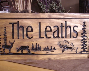 Wooden Carved Ranch Cabin Sign Last Name Family Address Plaque Gift Idea Buck Deer Bass Fish Hunting Wood Wall Art Camp Sign Benchmark Signs