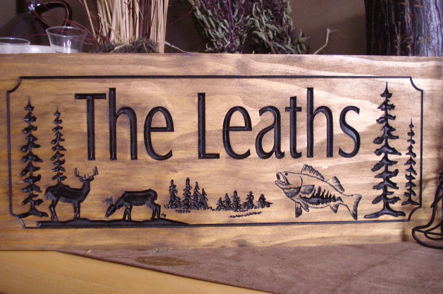 wood carved ranch cabin signs last name family address plaque