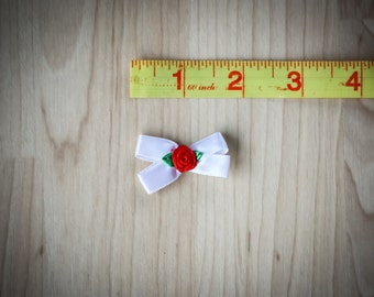"1 1/2"" White Silk Bow w/ Red Silk Rose Center"