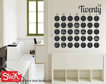 LARGE Calendar Wall Decal - Chalkboard Calendar Decal - Blackboard Wall Calendar Sticker - Modern Chalkboard Calendar Wall Decal - 094