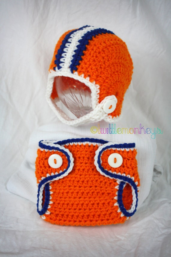 Free Crochet Pattern Football Diaper Cover : Newborn Crochet Football Helmet/Diaper Cover SET by ...