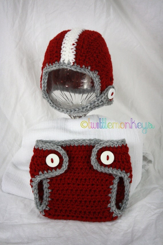 Free Crochet Pattern Football Diaper Cover : Items similar to Newborn Crochet Football Helmet/Diaper ...