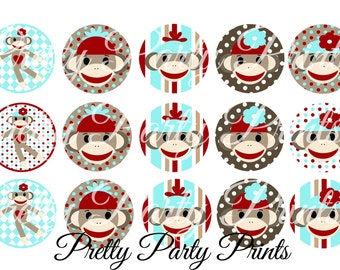 Instant Download Blue Sock Monkey 1 inch Round Circles for Bottle Caps, Hair Bows, Jewelry, Magnets and Scrapbooking