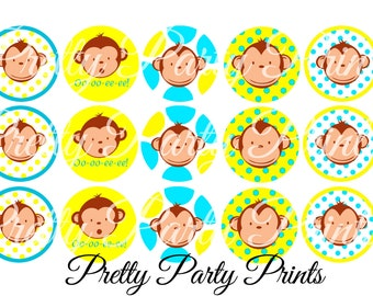 Instant Download Boy Mod Monkey 1 inch Round Circles for Bottle Caps, Hair Bows, Jewelry, Magnets and Scrapbooking