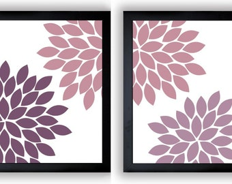 Flower Print Pink Purple Plum Chrysanthemum Flowers Set of 2 Art Print Wall Decor Modern Minimalist Bathroom Bedroom
