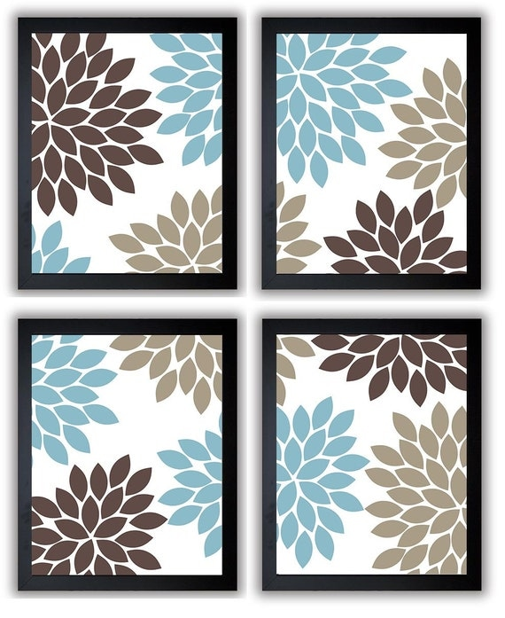 Blue Wall Decorations Xword : Flower print blue brown beige chrysanthemum flowers set of