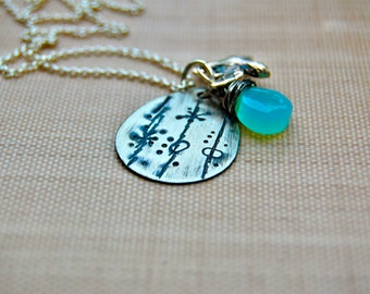 Hand stamped personalized swallow bird, mommy, willow, tree, blue, turquoise, teardrop, sterling, charm necklace