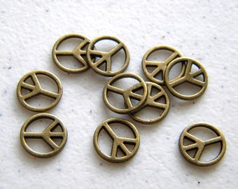 10 Small Bronze Peace Charms