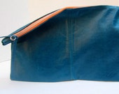 Turquoise recycled leather clutch // contrast peach zipper // handmade zipper pull
