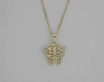 Butterfly Pendant  With  Genuine Diamond
