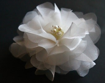 Bridal Organza Flower Fascinator, Ivory Flower Hair Clip with Pearls , Wedding Accessories