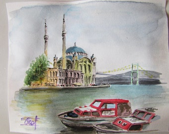 Istambul, Turkey, original watercolor painting.