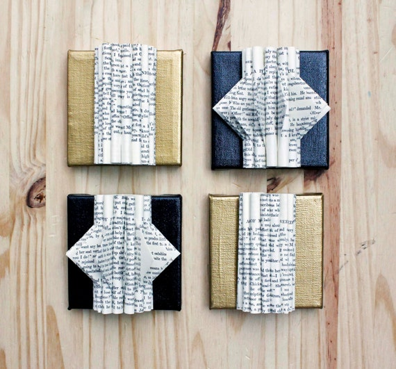 Unique wall art set of 4 folded paper book by eastparlor Creative wall hangings