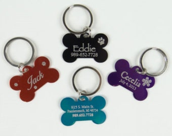 Set of 3 Dog Bone Dog Tags With Personalization on FRONT & BACK of Tag