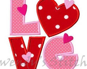 Valentine love applique machine embroidery design digital