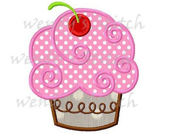 Sweet cupcake applique machine embroidery design
