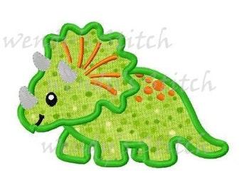 Dinosaur applique machine embroidery design digital pattern