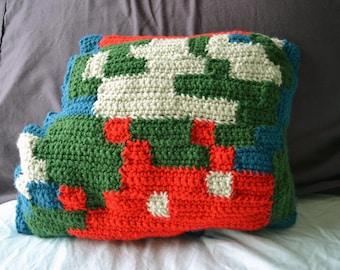 Crocheted 8-bit Retro Mario Throw Pillow