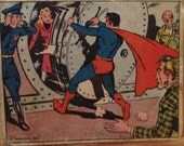 """Vintage - 1940s - Superman Trading Card - """"Rescue at the bank"""""""