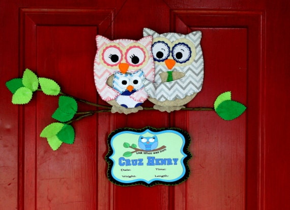 Owl family hospital door hanger by addalilcharmbowtique on for Baby boy hospital door decoration