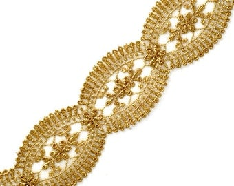 Metallic Gold Lace Trim, Crafts and Sewing, 1-3/4 Inch by 1 Yard, LP-1196