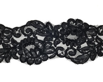 Beaded Sequin Embroidery Ribbon Lace Trim, Bridal Lace, 3-3/4 Inch 1 Yard, BLACK ROI-44566