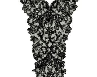 """Beaded Pearl Sequin Flower Neckline Applique patch, Bridal Applique, 8-1/2"""" x 16"""", ROI-44528"""