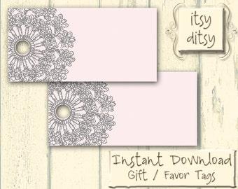 Printable Rustic favor box digital lace doily wedding favour