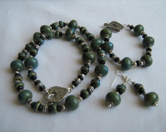 Blue Green Ceramic Necklace, Bracelet, and Earring Set