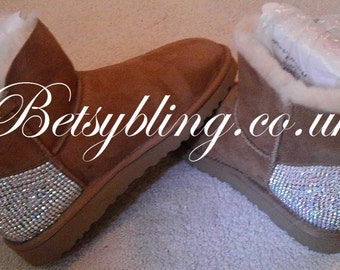 SALE **15% off original price**Crystal Ugg Australia Mini Bailey Button boots-Custom handmade Crystal Ugg Boots. Free UK Delivery