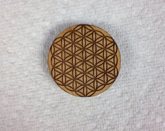 Flower Of Life Wood Hat Pin
