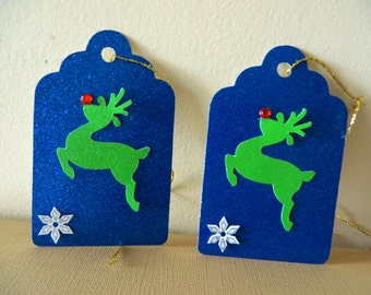 2 Rudolph the Red-Nosed Reindeer Christmas Gift Tags