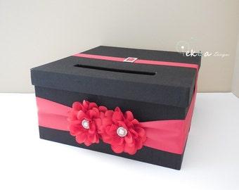 Wedding card box / money box / card holder / gift card box / 1 Tier (Black & Red)
