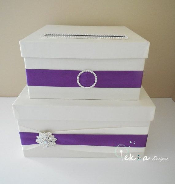 Wedding card box / money box / card holder / gift card box / 2 Tier (Ivory & Purple)