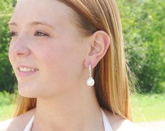Bridal Earrings -  White Pearl Earrings - Crystal Bridal Earrings - Wedding Jewelry - Vintage Style -  Rhinestone Bridal - Chunky Pearl