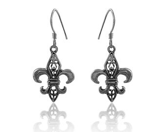 Fleur de Lis Earrings, Antiqued Fleur de Lis Earrings,