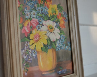 Orange Pink Yellow and Blue Flowers fill a Bright Yellow Vase in this Tiny Vintage Framed Print