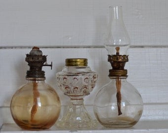 GROUPING of Vintage BITS And PIECES Mini Oil Lamps