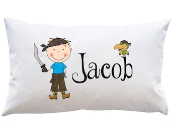 Personalized Custom Boys Pirate Name Pillowcase Bedroom Kids Toddler