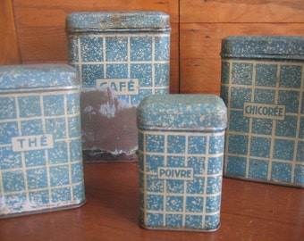 Vintage French Kitchen Canisters - Set of 4