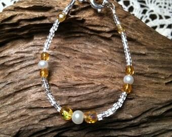 November Citrine Dainty Baby Birthstone Bracelet